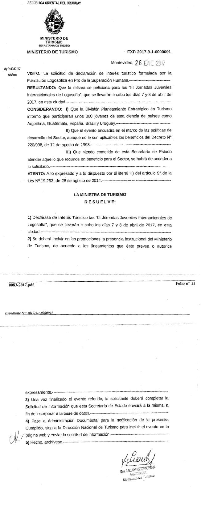 Declaración de Jornadas Juveniles en Montevideo de Interés Turístico por parte del Ministerio de Turismo