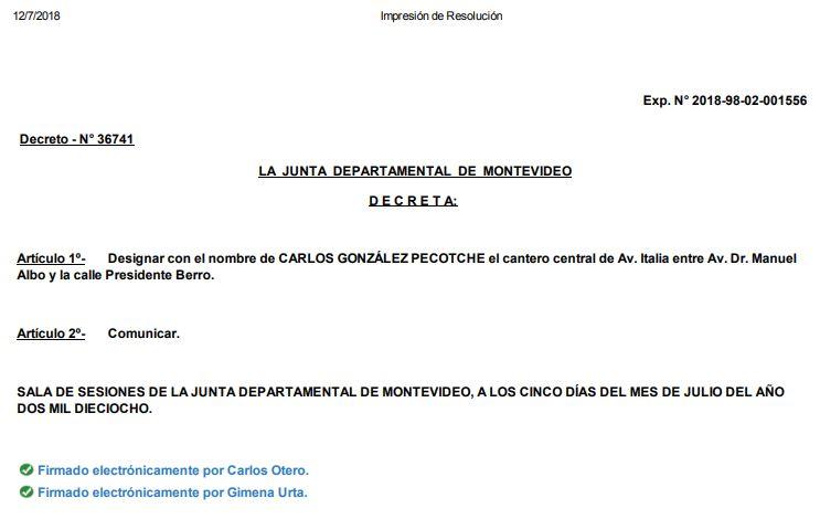 resolución cantero av italia nombre González Pecotche en Montevideo